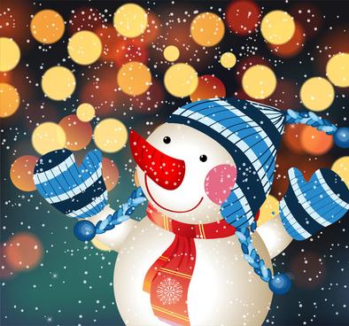 snow man vector in boked effect