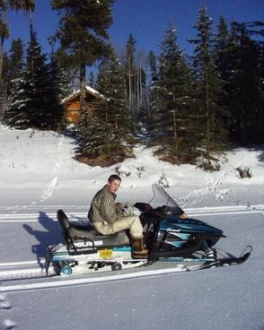snow mobile winter boy