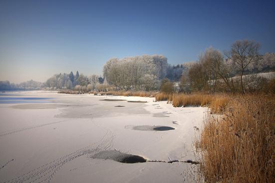 snow on lake