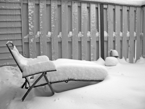 snow on lawn chair