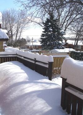 snow on terrace