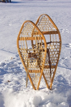 snow shoes upright in snow