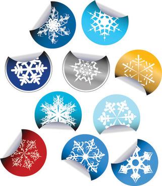 snow sticker icon vector
