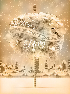 snow town christmas background vector