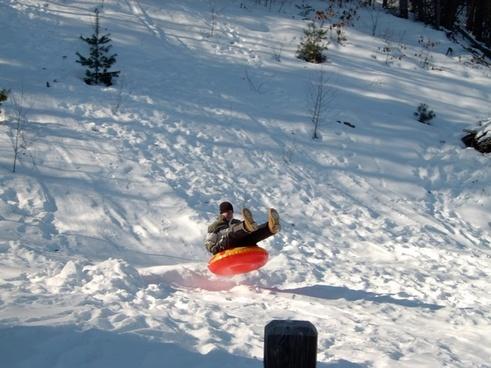 snow tubing winter air born