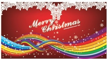 snow with colored christmas background vector
