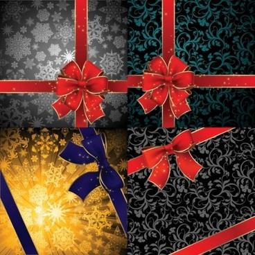 snow with floral gift card set vector