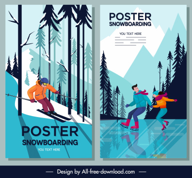 snowboarding poster templates colored cartoon character sketch