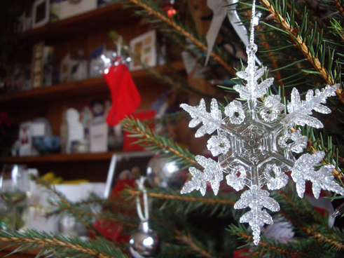 snowflake decoration on christmas tree