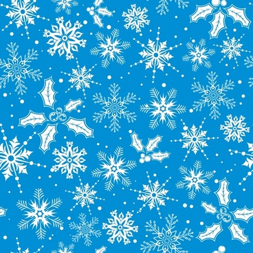 snowflakes background blue white flat repeating decor