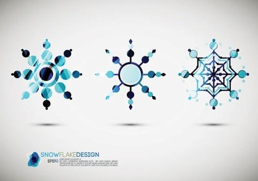 xmas design elements snowflakes shape sketch modern symmetric