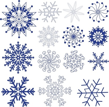 snowflakes templates colored flat symmetrical design