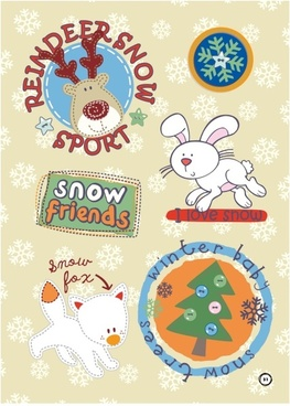 snowflake with cute animal christmas vector