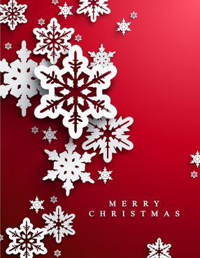 snowflake with red christmas background