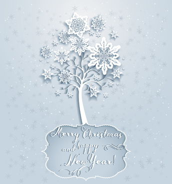 snowflake with tree vector christmas background