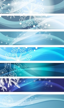 xmas banner templates snowflakes baubles sketch horizontal design