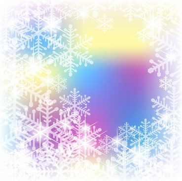 snowflakes on color background vector graphic