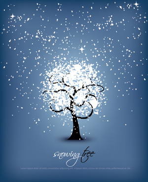 snowing tree vector graphic