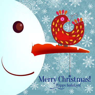 snowman and cock decoration on snowflakes christmas background