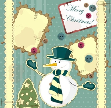 snowman decoration painting 02 vector