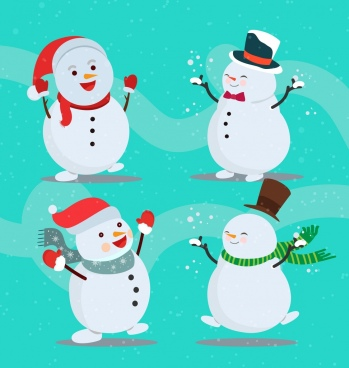 snowman icons collection cute stylized happy emotion