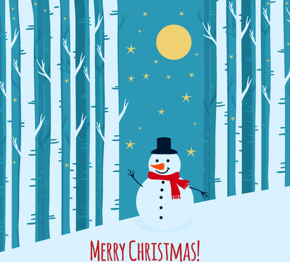 snowman on winter forest background