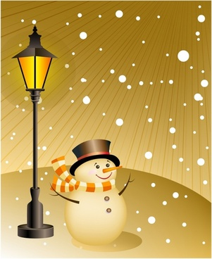 Snowman stands under a lamp on snowy evening