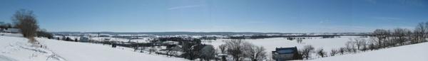 snowy bucolic valley