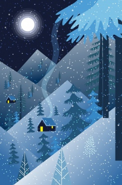 snowy landscape drawing dark blue design moonlight decor