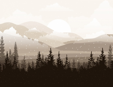 snowy landscape drawing dark design trees mountain icons