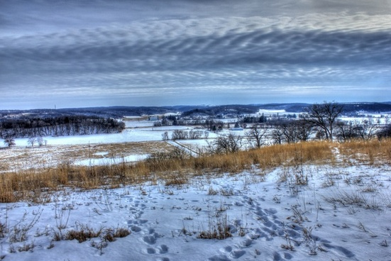 snowy overlook on the ice age trail wisconsin