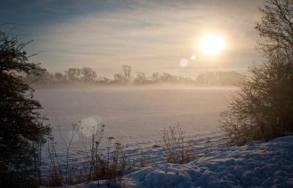 snowy sun rise