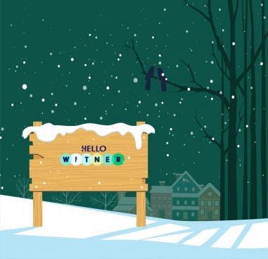 snowy winter backdrop wooden signboard icon