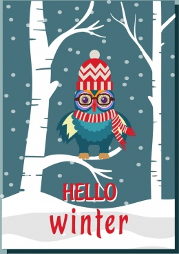 snowy winter background stylized owl icon