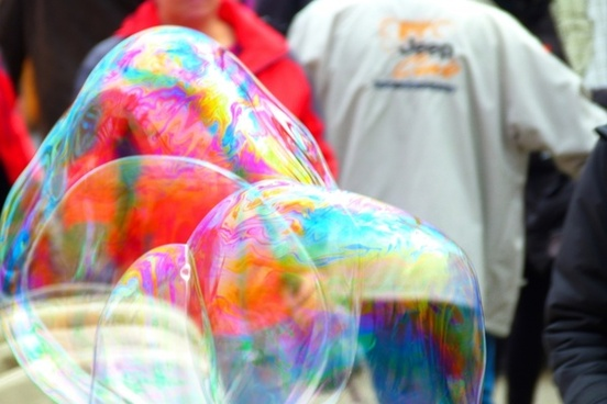 soap bubbles colorful heavy going