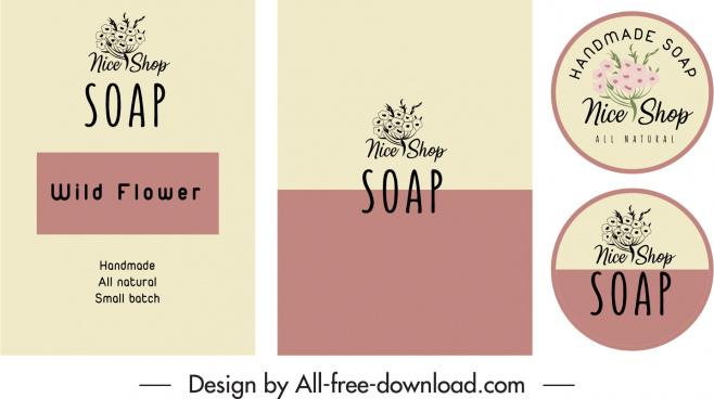 soap label decor elements botanical decor classic design