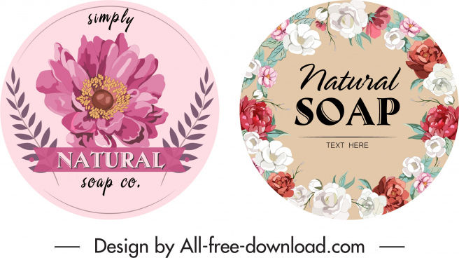 soap label templates elegant colored petals decor
