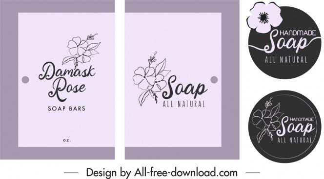soap package label templates elegant retro petal decor