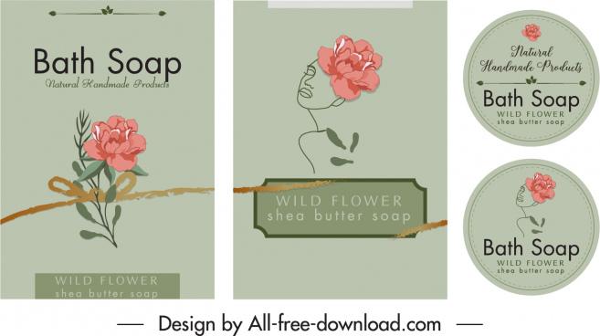 soap packaging decor elements classical petal sketch