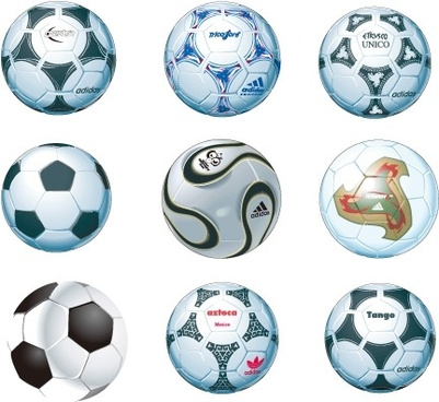 soccer balls icons collection colored realistic style