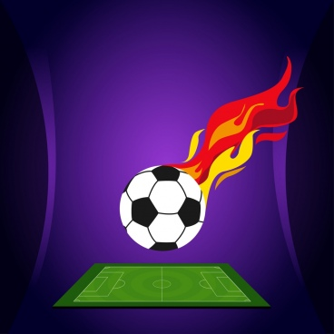 soccer background flaming ball green field decoration