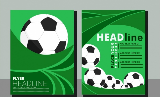 soccer background flyer balls green whirl decoration