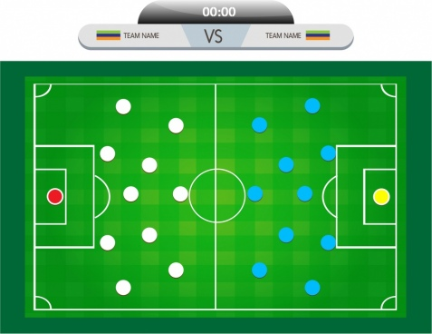 soccer background match diagram design colored style