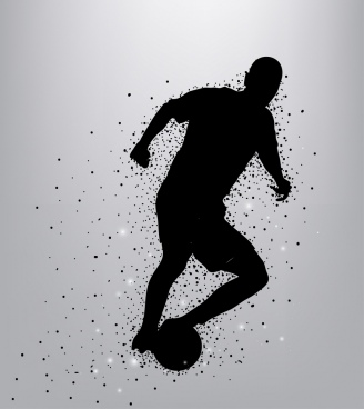 soccer background player icon silhouette design dots decoration