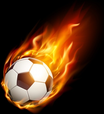 soccer background red fire ball icon realistic design