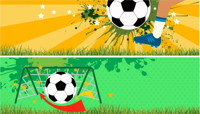 soccer background set goal ball decoration grunge style