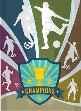 soccer background silhouette style player cup ribbon decoration