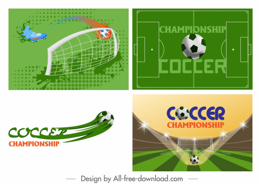 soccer background templates modern colored design ball sketch