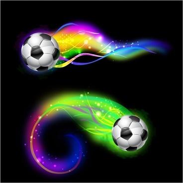 Soccer ball on colorful lightning way
