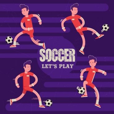 soccer banner male players icons cartoon design